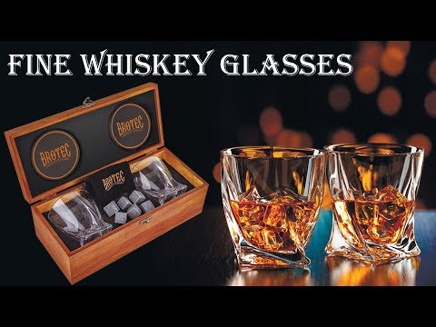 Whiskey Glass Gift Set - Two Twisted Crystal Glasses - Granite Chilling Stones - Best Present