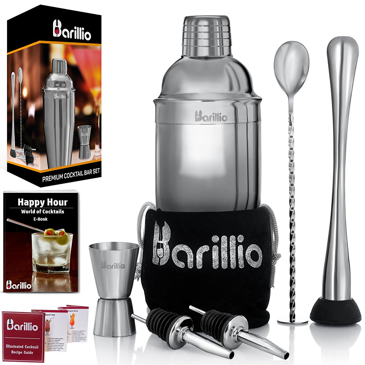 Barillio elite cocktail shaker set