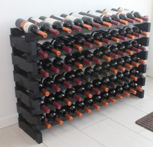 Display Gifts Stackable Modular Wobble free black 72 capacity free standing wine rack