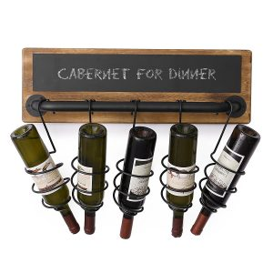 MyGift 5 bottle industrial mounted chalkboard wall mounted wine rack
