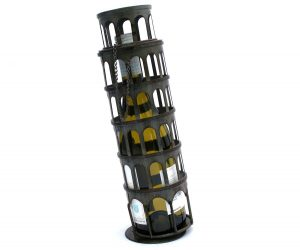 leaning tower wine bottle holder