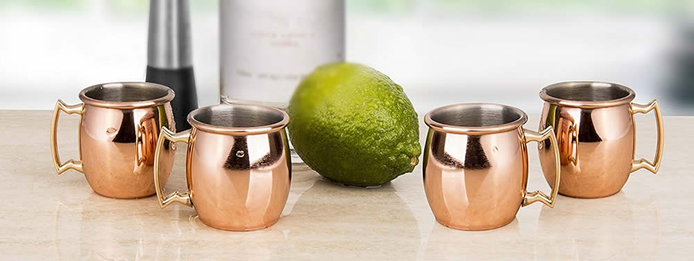 Decodyne 2-ounce Moscow Mule Copper Shot Glasses - Set of 4