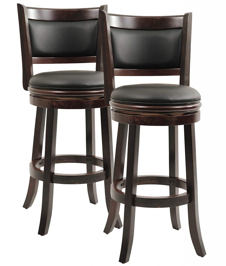 Boraam 8829 Augusta Bar Height Swivel Stool, 29-Inch, Cappuccino, 2-Pack