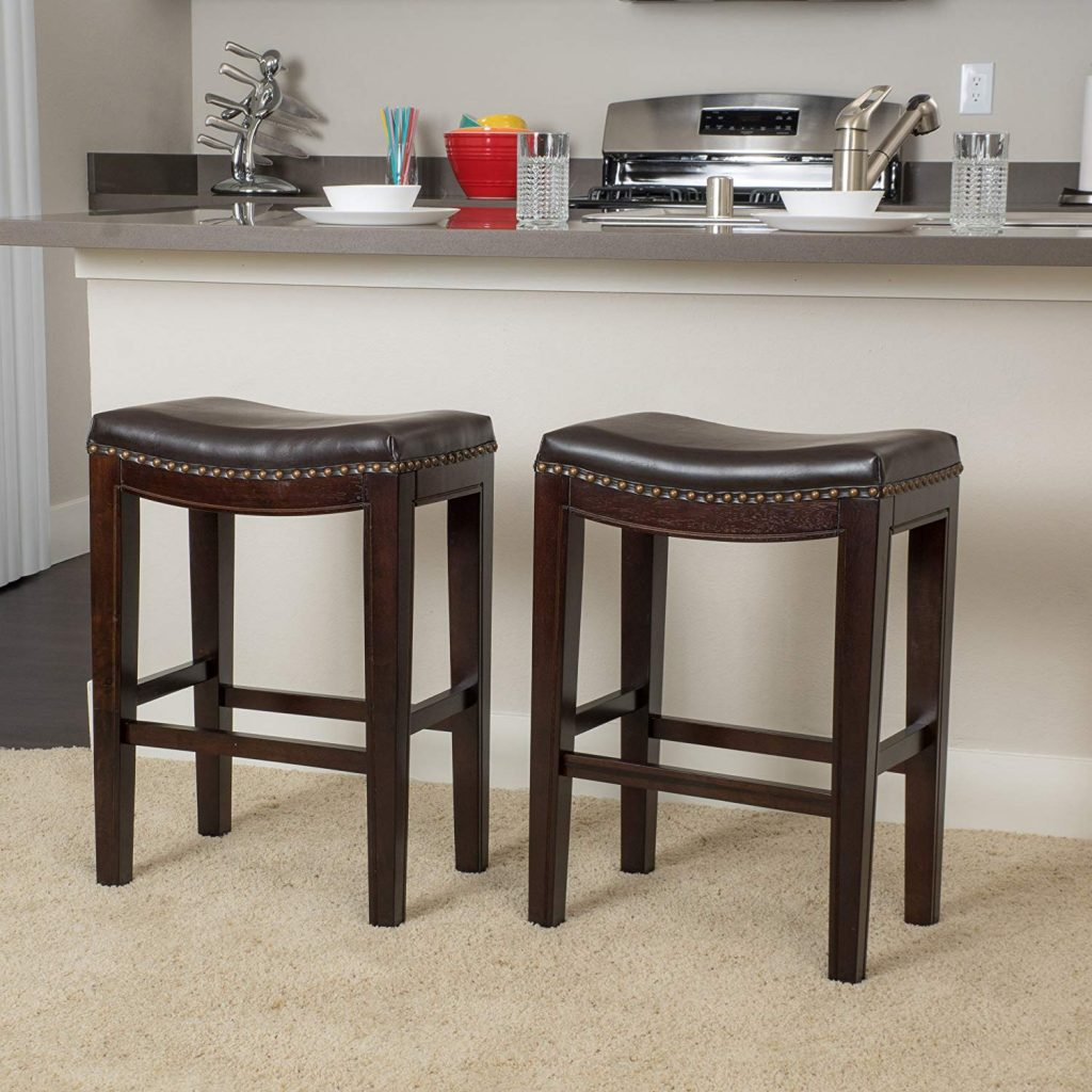 Great Deal Furniture Jaeden Backless Faux Leather Counter Stool