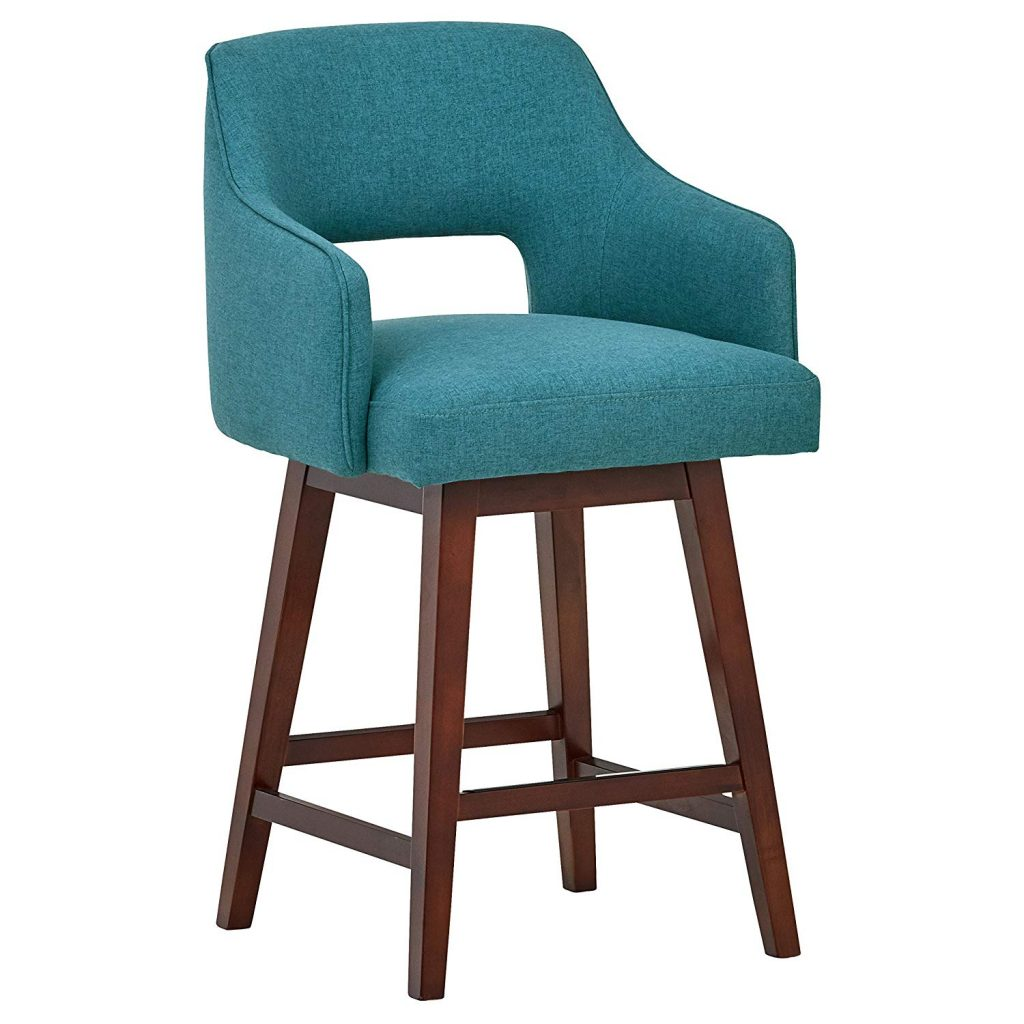 Rivet Malida Mid-Century Open Back Swivel Counter Stool, 37-inches
