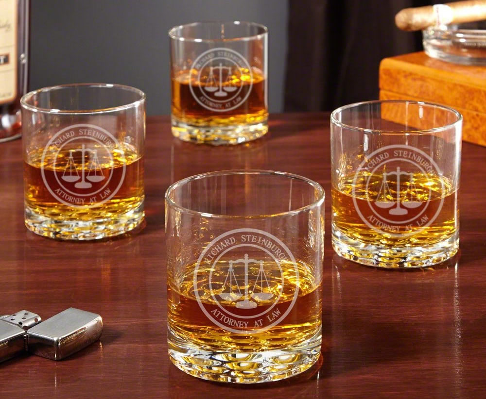 Home wet bar scales of justice whiskey glasses