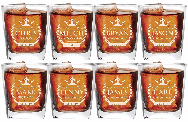 Personalized Groomsman whiskey glass set