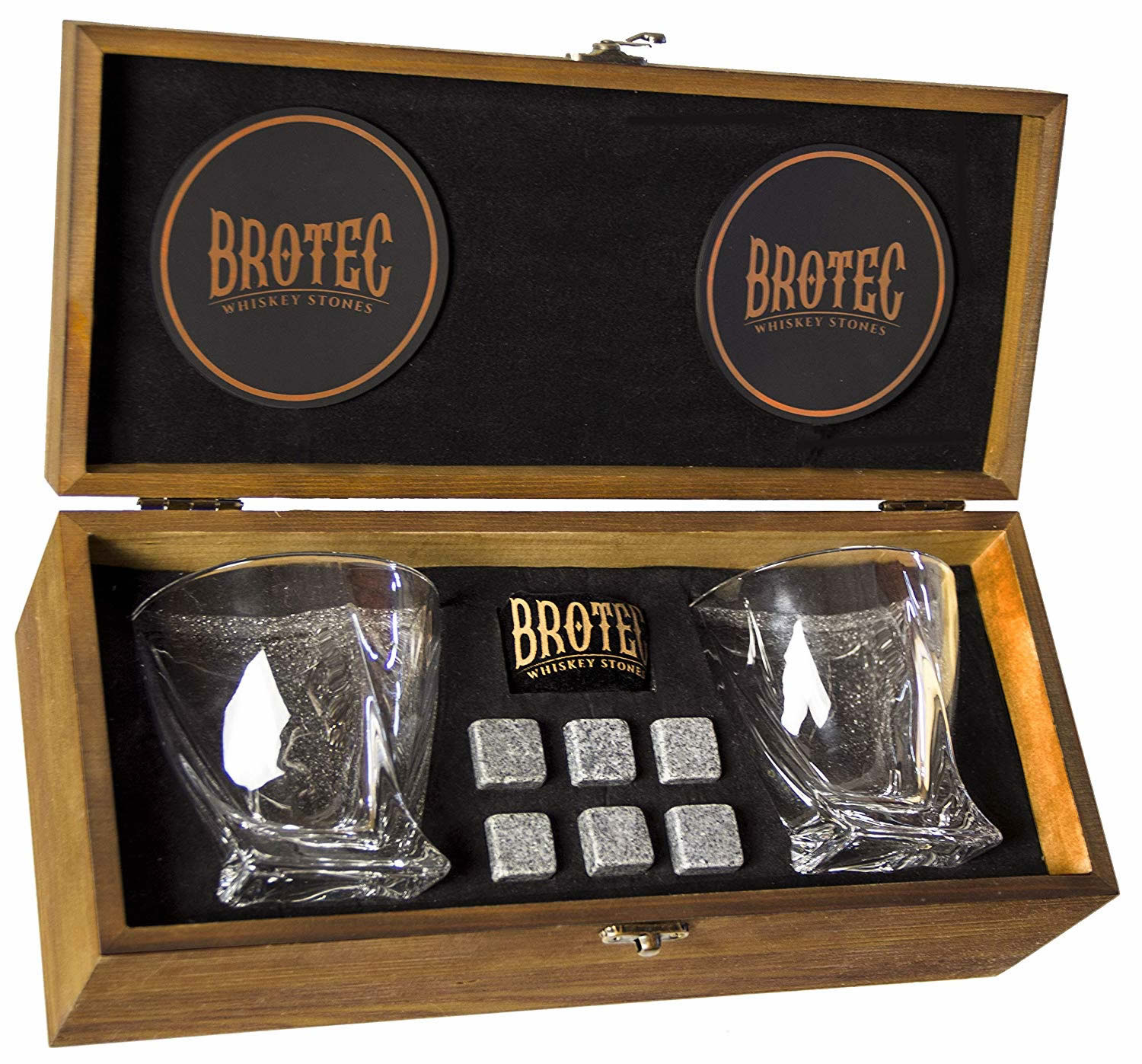 brotec whiskey glass set with whiskey stones