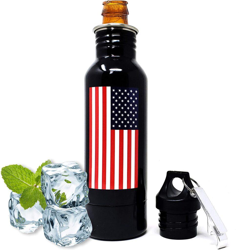 Find Funny Gifts American flag beer bottle cooler